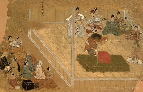 Ilustrasi teater Noh zaman dahulu